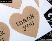 "108 thank you MINI heart stickers .75"" (1.9 cm) brown kraft paper, envelope seals, save the date, wedding favors, favor stickers (S-02)"