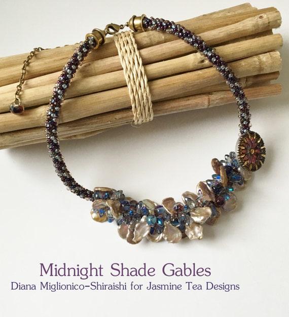 Midnight Shade Gables a Fully Beaded Kumihimo Necklace