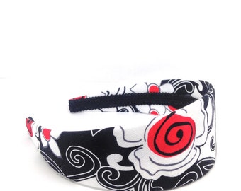 2 inch Wide Headband - Black, White and Red Floral - big girl headband - teen headband - adult headband - Flower Print Wide Headband