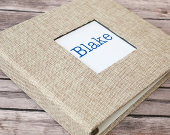 Baby Book, Baby Gift, Baby Album, Baby Memory Book, Baby Keepsake, Modern Baby Book, Wheat Burlap