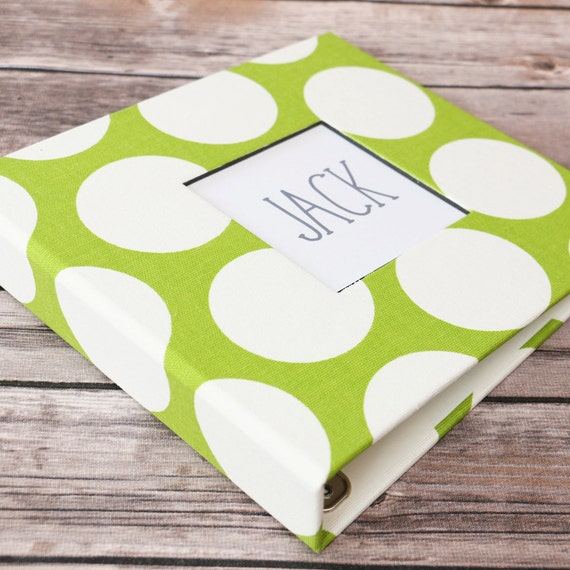 Baby Memory Book - Green and White Polka Dots  (78 designed journaling pages & personalization included with every album)