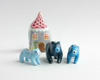 Miniature Bear Family - mama bear baby bear, mini terrarium figurine, tiny bear baby, family of 3, mothers day gift