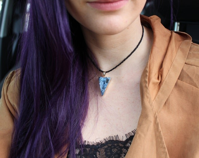 Crystal Druzy Choker Necklace in Midnight Denim Blue.