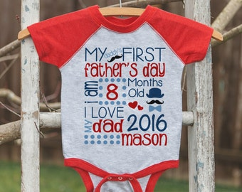 Kids First Father's Day Outfit - Red Raglan Shirt or Onepiece - Kids 1st Father's Day T-shirt for Baby Boys - Custom Stats with Name and Age