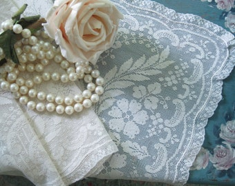 Filet Lace Table Runner, Dresser Scarf, Cream, Cottage Charm, French Country, Shabby French, Lace,