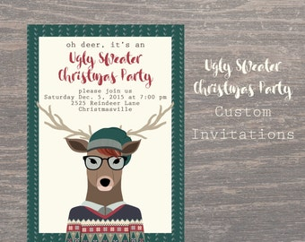 Christmas Ugly Sweater Invites, Christmas Invitation, , Custom Invitations