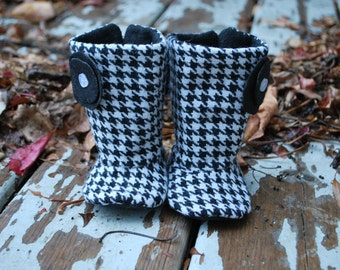 Soft Sole Baby Boots // Girl Baby Boots // Girl Toddler Boots // ELLA HOUNDSTOOTH Soft Soled Girl Boots // Sizes 2-6