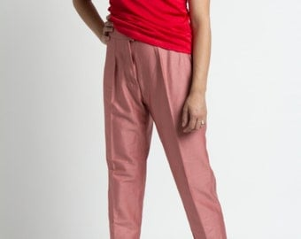 Vintage 80s Rose Pink High Rise Stretchy Cropped Trousers | L