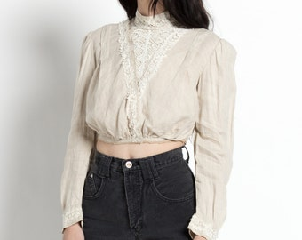 Antique Victorian High Collar Cropped Blouse with Lace Yoke | XS
