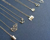 Clover Necklace In Gold Necklace Minimalist Layered Necklace Choose Your Pendant Shamrock Camera Anchor Heart Honey Comb Necklace