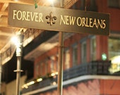 """New Orleans Photography, French Quarter Picture, """"Forever New Orleans"""" Mardi Gras Print. Yellow Red. 8x10, 11x14, 16x20, 20x24, 24x30, 24x36"""