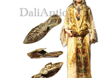 Free Shipping Vintage Harem Maiden Slipper Shoe Very Unique Brooch Damascene Gorgeous Figural Pin