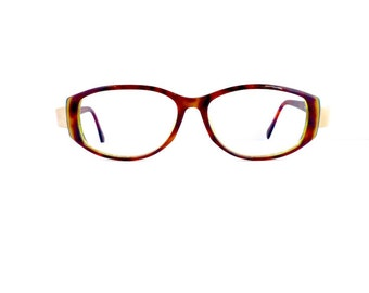 Silhouette Readers Eyeglasses Women's Vintage 1990's Tortoiseshell with Brushed Gold Detail Frames Model M1489 Made in Austria #M423 DIVINE