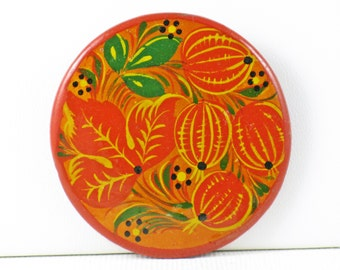 Vintage Orange Lacquered Celluloid Hand Painted Floral Leaves and Berries Brooch Pin (B-1-6)