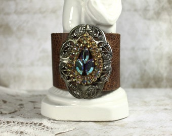 Vintage Jeweled Distressed Leather Collage Cuff Bracelet with Sterling Art Nouveau Buckle and Aurora Borealis Teardrop Jewel
