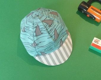 Toddler/Kid Cycling Cap- Blue Shark Fabric