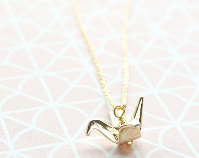 3D Origami Crane Necklace, Rose Gold Silver, Happy Love Symbolic Charm, Layering Necklace, Wedding, Bridesmaid bridal Shower Gift