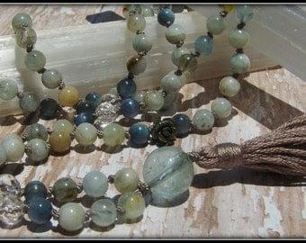 Aquamarine Mala, Kyanite Mala, Pyrite, Quartz, Blue Mala, Grey Mala