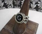 Initial Ring Letter G - Typewriter Key Ring - Typewriter Key Jewelry -  Antique Typewriter Key Adjustable Ring