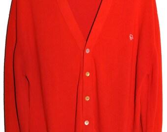Vintage CHRISTIAN DIOR Button Down Cardigan Sweater Soft Orlon Mens sz L Boyfriend Fit
