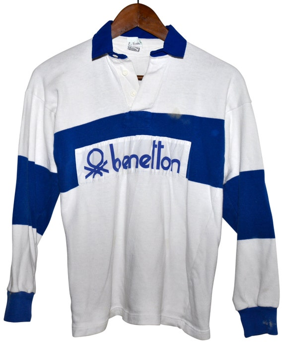 vintage 80s benetton rugby shirt blue white striped by