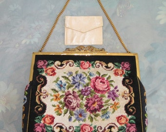 Rare Hand made in Austria Petit Point two piece purse