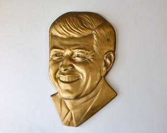Mid Century President Kennedy Wall Hanging JFK Plaster Portrait Political Wall Decor 1960s