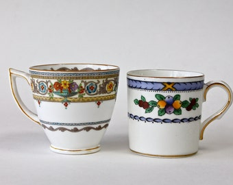2 Boho Vintage Demitasse Cups Espresso Cups Mintons Adderleys Bone China Made In England Small Coffee Cups Without Saucers Fruit and Flowers