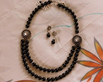 Black Pearl Necklace, Multi strand Pearl Necklace, Black Swarovski Pearl Necklace