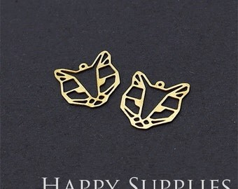 Exclusive - 8pcs Raw Brass Leopard Charm / Pendant, Fit For Necklace, Earring, Brooch (RD216)