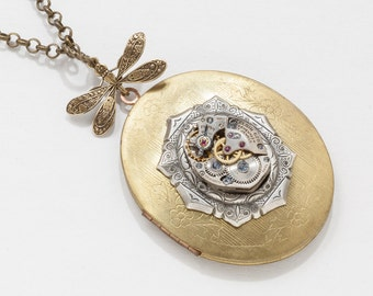 Vintage Gold Locket Steampunk Necklace with Dragonfly and watch movement on silver Victorian Bezel Statement Necklace Locket Pendant 2781