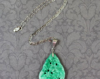 Vintage Czech Green Peking Glass Pendant with Silver Chain Necklace