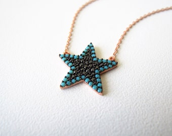 Starfish necklace - north star necklace - mom gift - mothers gift - turquoise necklace - zodiac jewelry - gifts for her - sister gift - wife
