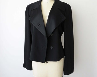 90s JIL SANDER Minimalist Vintage Black Jacket Lightweight Blazer Womens Asymmetrical Button Front Wide Lapel S M