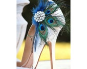 Shoe Clips Peacock & Navy Fan. Bride Bridal Bridesmaid, Birthday Engagement Gift, Sparkle Rhinestone, Statement Pinterest Favorite Couture