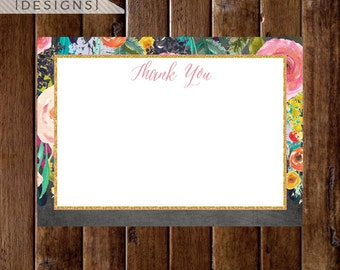 Floral Watercolor Flat Thank You Note, Watercolor Flowers, Flat Note, Chalk Note, Shower Thank You Note, Printable Thank You Note
