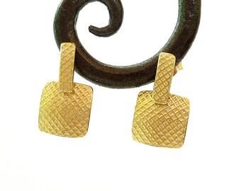 Square earrings Gold earrings, Square Gold post earrings 18K Gold earrings - Fine Jewelry