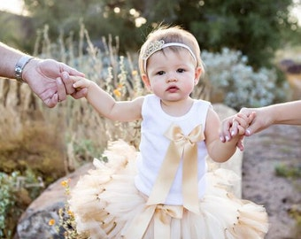 Gold Party Dress for Baby Girls, Little Girls Gold Birthday Tutus, Gold Flower Girl Dress, Gold Princess Dress
