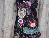 Malena dress--  whimsy bohemian dress, embroidered, reworked