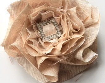 SWANKY Vintage Couture Fabric Flower - Light Peach  - (Made to Order) - Photo Prop - Spring Easter Wedding Baptism
