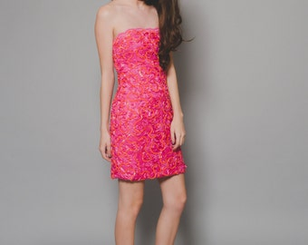 Vtg 80 90s Victor Costa Pink Lace Ribbon Clueless Hot Pink Spice Girls Strapless Mini Dress S/M