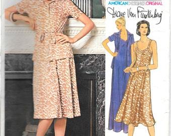 VOGUE 1550 Size 10 Diane von Furstenberg Vintage 1970's Knit Flared Sweetheart Neckline Dress and Short Sleeve Tie Jacket Pattern