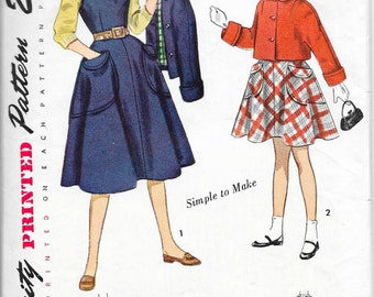 SIMPLICITY 3320 Size 10 Vintage 1950's Girl's Jumper V-Neck Sleeveless Dress Cropped Peter Pan Collar Jacket Flared Skirt Pattern