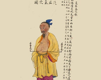 antique chinese acupuncture chart hernia illustration digital download