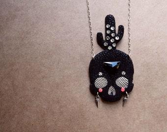 Black Cactus Skull Necklace