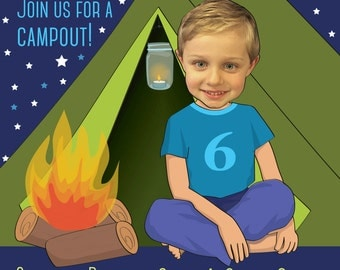Camping Party Invitation - Personalized with your photo DIGITAL FILE