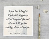 Jane Austen card - Mr Darcy quote card - Book Lovers gift - Pride and Prejudice card - Literary quote card - Anniversary Card