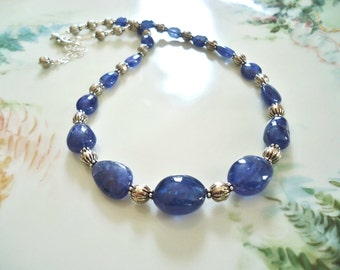 Tanzanite Nugget Necklace - Genuine Natural Deep Blue Tanzanite Smooth Nugget and Solid Sterling Silver Gemstone Necklace