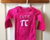 Fuchsia Pi Day Baby Bodysuit (12 months), Pink Pi Day Baby Shirt, Batik Cutie Pi Bodysuit, Baby Girls Pi Day Bodysuit