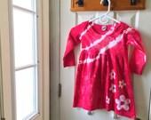 Red Flowers Girls Dress (4T), Red Girls Dress, Valentine's Day, Girls Flower Dress, Red Flower Girls Dress, Tie Dye Dress, Long Sleeves